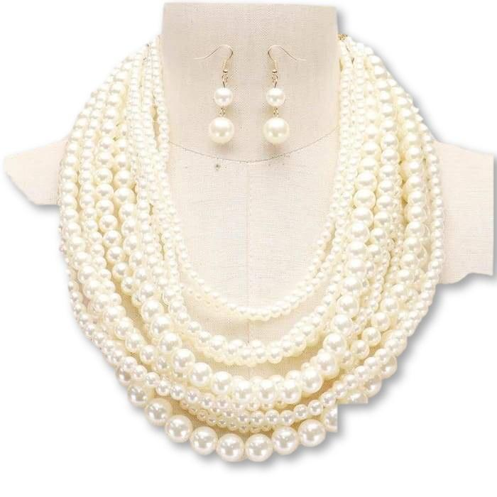 Multi Strand Necklace Mixed Pearl  with Mathing Earrings