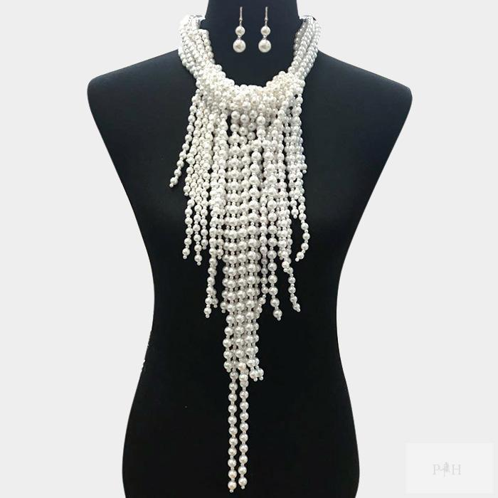 Multi Pearl Strand  Necklace with Matching Earrings Jewelry