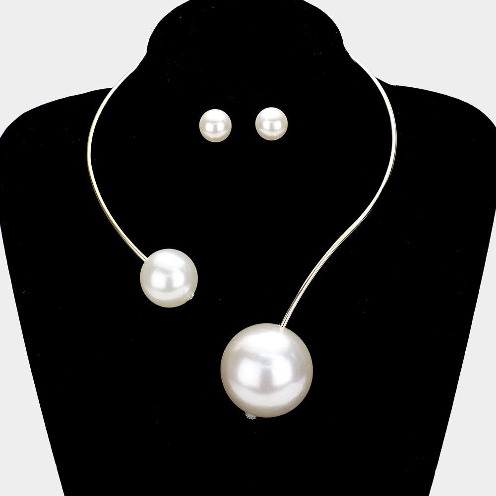 Double Pearl Open Choker Necklace with Matching Earrings
