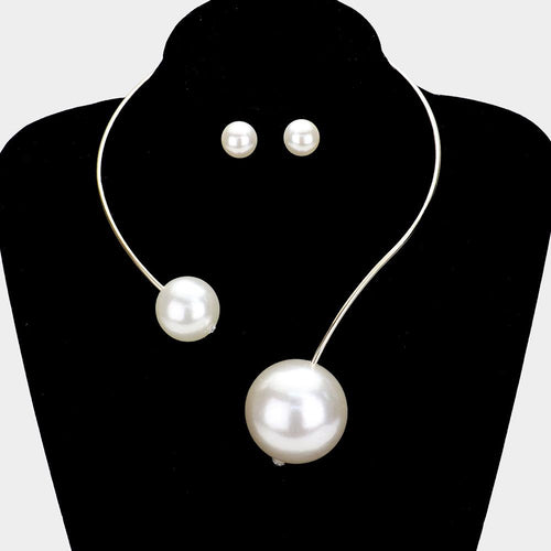 Double Pearl Open Choker Necklace With Matching Earrings Accessories