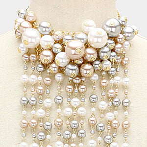 Cluster Pearl Vine Necklace With Matching Earrings Accessories