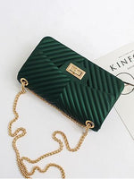 Green Clutch with Gold Chain