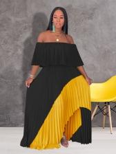 Off Shoulder Contrast Color Pleated Maxi Dresses Clothing