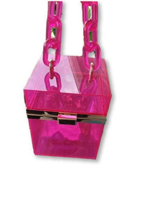 Clear Chain Cube Wristlet Purses