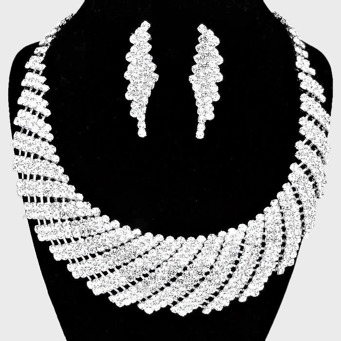 Tornado Rhinestone Collar Bib Necklace