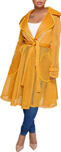 * Mesh Trench Coat Mustard Color Clothing