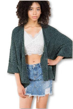 Green Cable Knit Slouch Cardigan Small Clothing