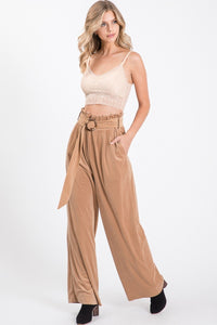Solid Taupe Velveteen High Waist Pants - So Soft Clothing