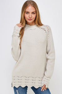 *solid Knit Eyelet Sweater Small Clothing