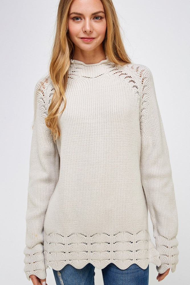 *solid Knit Eyelet Sweater Clothing