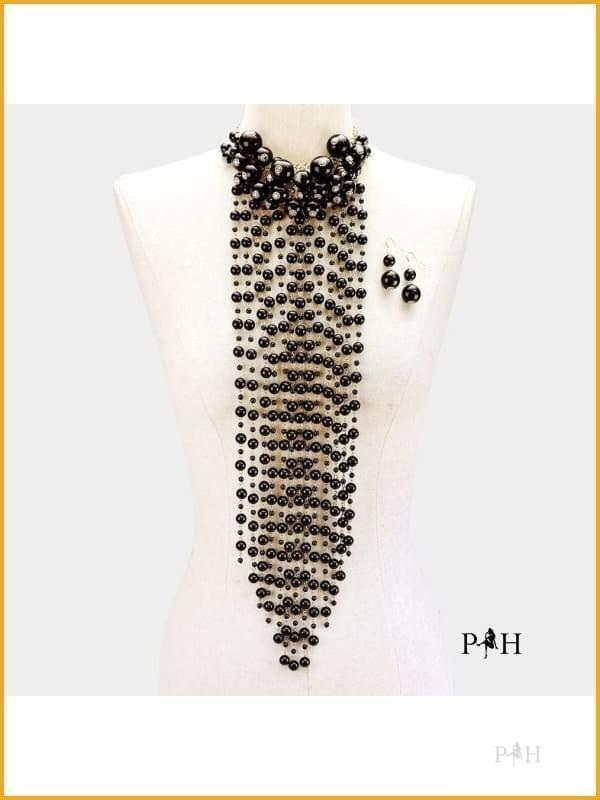 Black Pearl Cluster Vine Statement Necklace