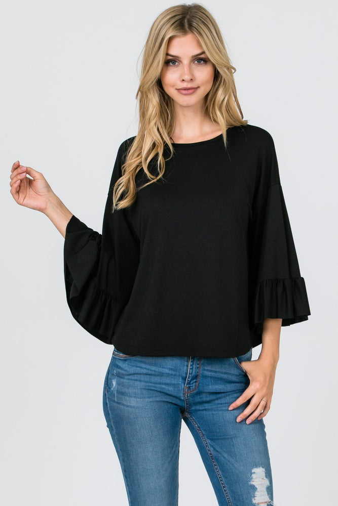 *black Bell Sleeve Top Clothing
