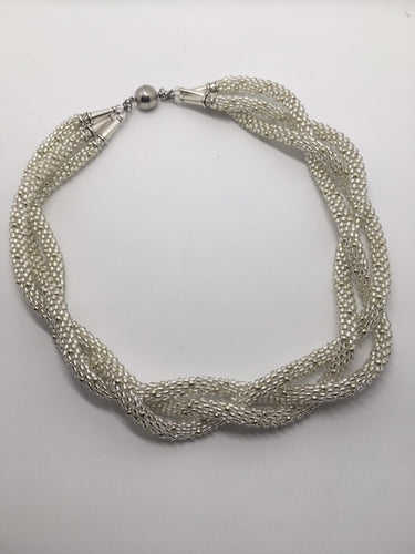 Crystal plait,  with silver seed beads