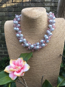 Pink cluster Kumihimo Necklace