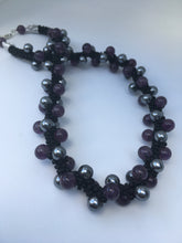 Gunmetal and Berries Kumihimo necklace