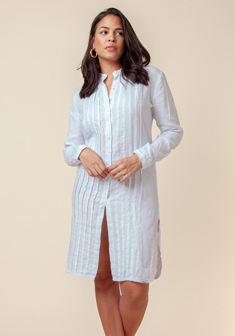#8014 Linen Clothing 100% Natural Italian Style Pleated Button-Down Tunic