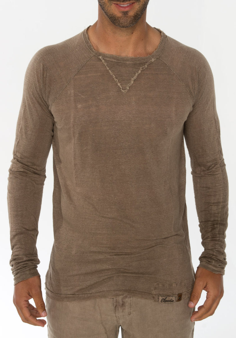 100% JERSEY LINEN LONG SLEEVE NIKI COLLAR T-SHIRT S to XXXL - Claudio Milano