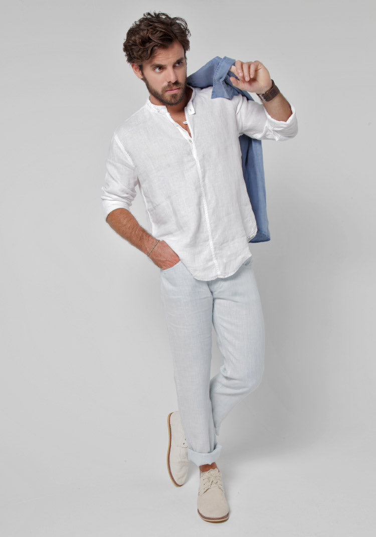 100% LINEN LONG SLEEVE SHIRT WITH BUTTON COLLAR S to XXXL - Claudio Milano