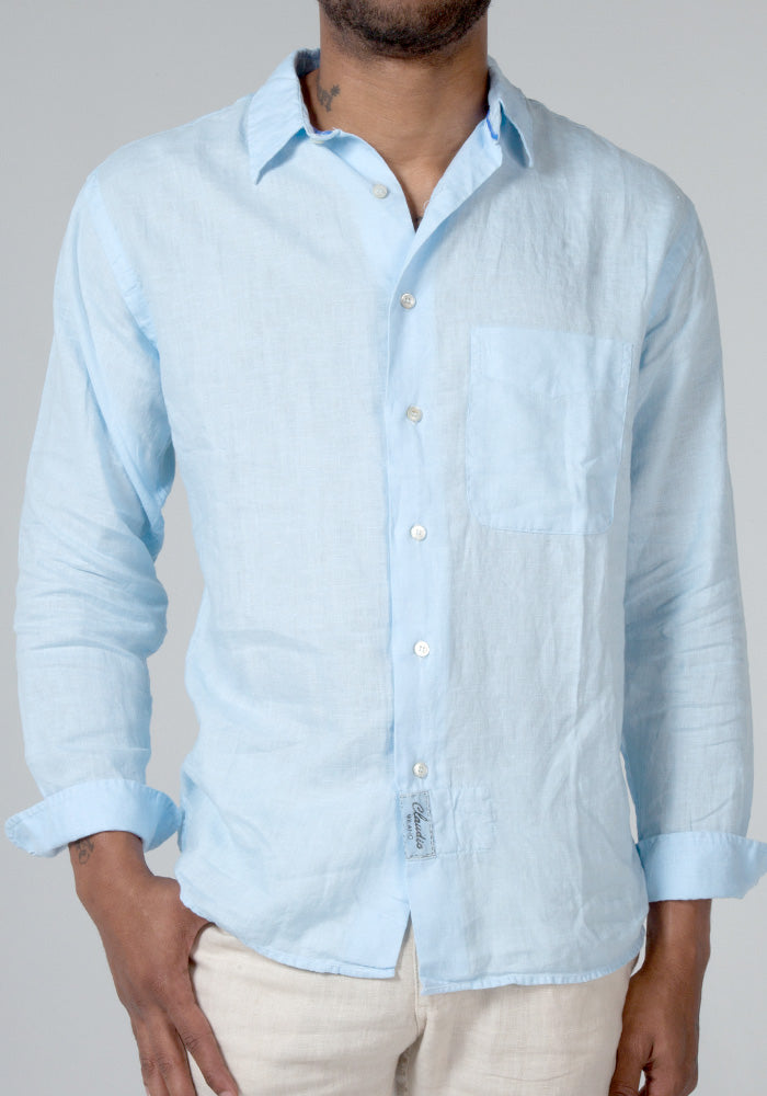 100% LINEN LOOSE FIT BUTTON DOWN SHIRT WITH POCKET