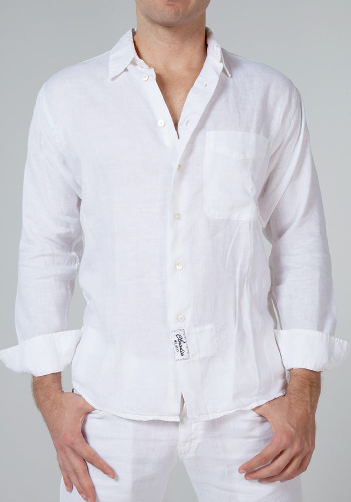 100% LINEN LOOSE FIT BUTTON DOWN SHIRT WITH POCKET S to XXXL - Claudio Milano