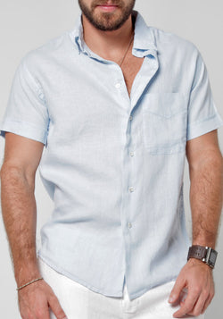 100% LINEN SHORT SLEEVE BUTTON-DOWN SHIRT WITH POCKET