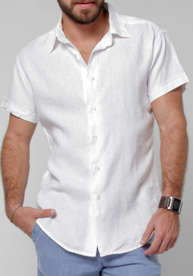 100% LINEN REGULAR FIT SHORT SLEEVE BUTTON-DOWN SHIRT S to XXXL - Claudio Milano