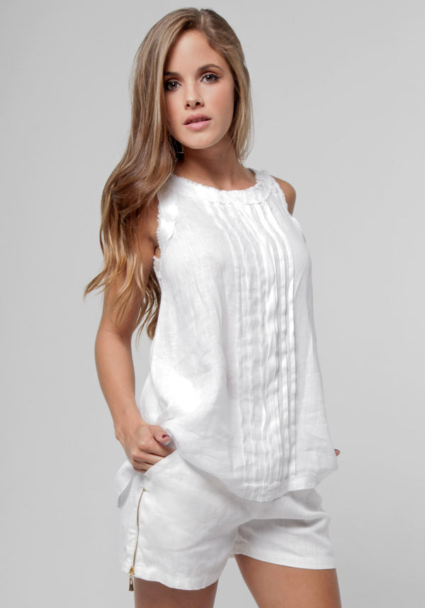 100% Linen Babydoll Pleated Tank in White