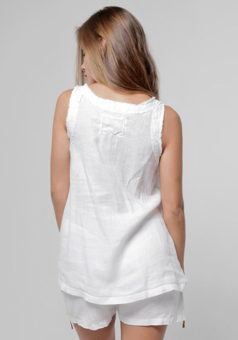 100% Linen Babydoll Pleated Tank S to XXXL - Claudio Milano