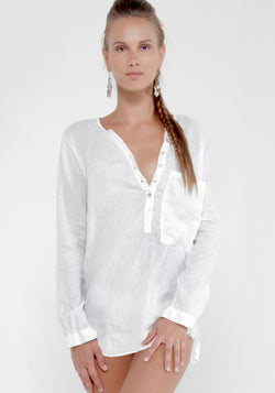 100% Linen Boyfriend Henley Shirt With Over-sized Pocket