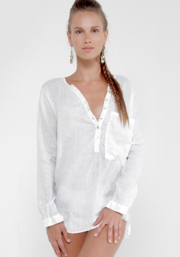 100% Linen Boyfriend Henley Shirt With Over-sized Pocket in White