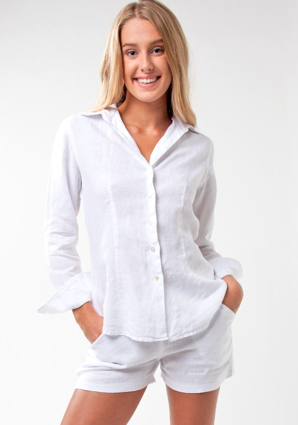 100% Linen Fitted Button Down Shirt in White