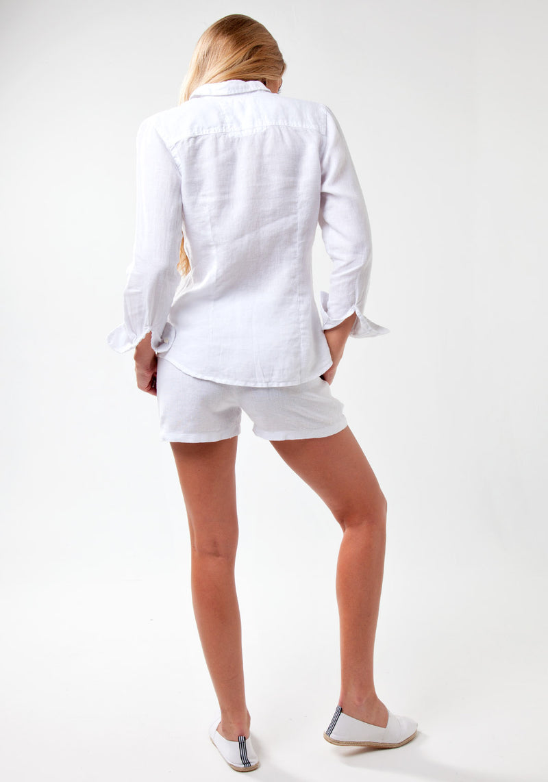 100% Linen Fitted Button Down Shirt in White S to XXXL - Claudio Milano