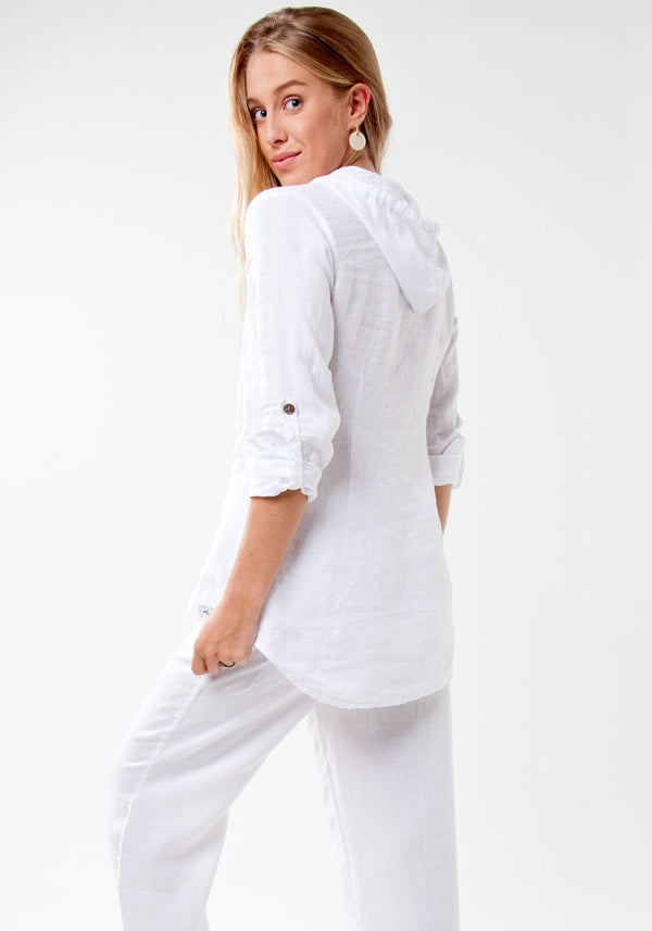 100% Linen Fitted Shirt with Coconut Buttons and Hood in White S to XXXL - Claudio Milano