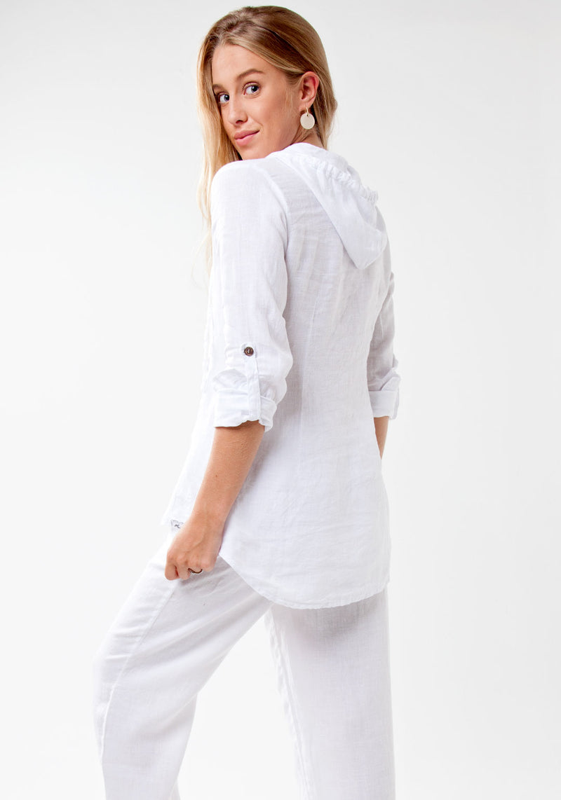 100% Linen Fitted Shirt with Coconut Buttons and Hood in White
