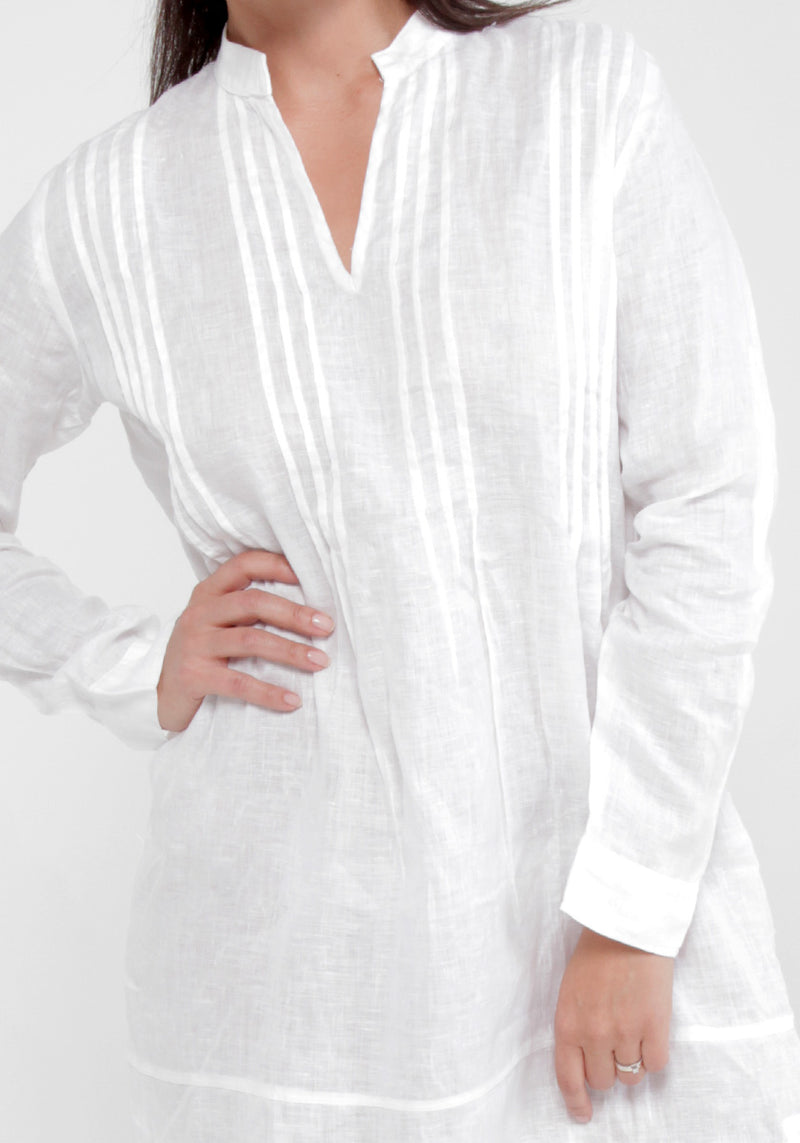 100% Linen Over-sized Shirt Dress With Mandarin Collar & Thin Pleats