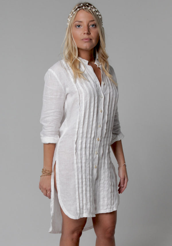 100% Linen Pleated Button-Down Tunic in White