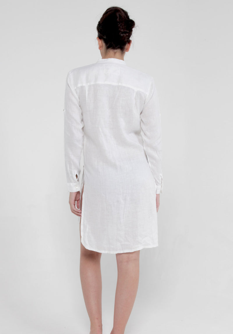 100% Linen Pleated Button-Down Tunic in White S to XXXL - Claudio Milano