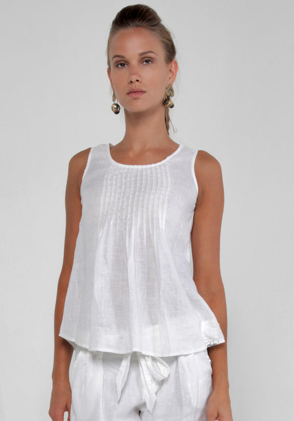 100% Linen Tank Top With Pleats in White