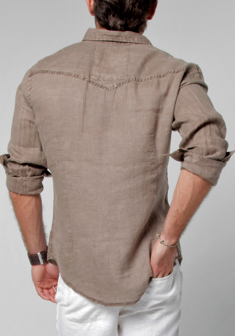 100% LINEN BUTTON-DOWN SHIRT WITH HAND-STITCHING S to XXXL - Claudio Milano