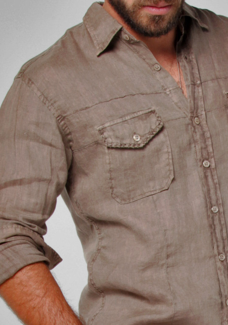 100% LINEN BUTTON-DOWN SHIRT WITH HAND-STITCHING