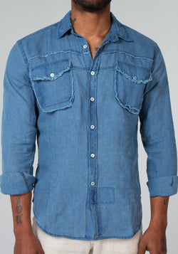 100% LINEN LONG SLEEVE 2 POCKET BUTTON DOWN SHIRT WITH UNFINISHED EDGES S to XXXL - Claudio Milano