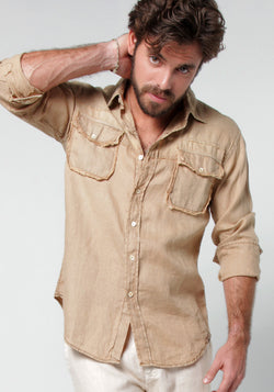 100% LINEN LONG SLEEVE 2 POCKET BUTTON DOWN SHIRT WITH UNFINISHED EDGES
