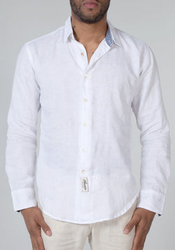 100% LINEN REGULAR FIT LONG SLEEVE BUTTON DOWN SHIRT WITH CHAMBRAY DETAILS