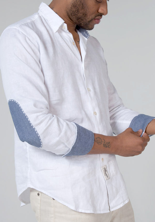 100% LINEN REGULAR FIT LONG SLEEVE BUTTON DOWN SHIRT WITH CHAMBRAY DETAILS S to XXXL - Claudio Milano
