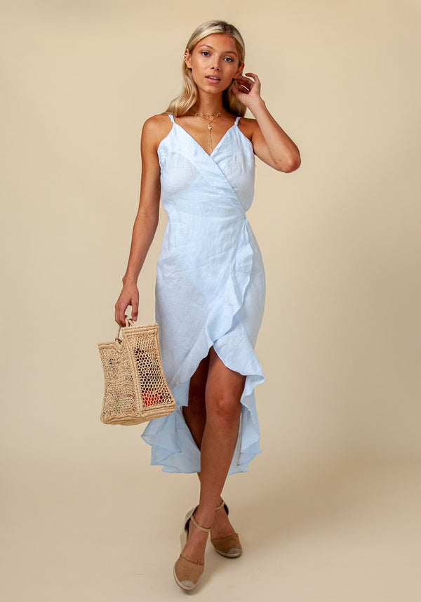 #8386 Linen Dress for women Linin Clothing 100% Natural Italian Style Wrap Dress With Frills