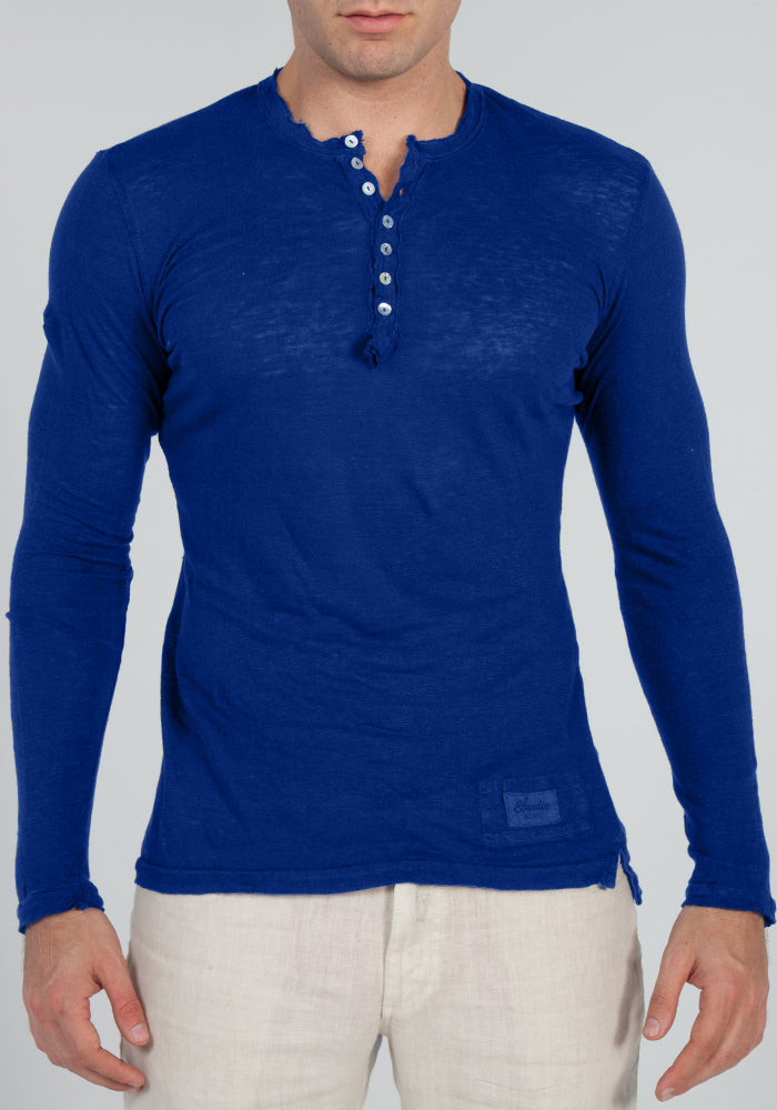 JERSEY LINEN FITTED LONG SLEEVE HENLEY T-SHIRT S to XXXL - Claudio Milano