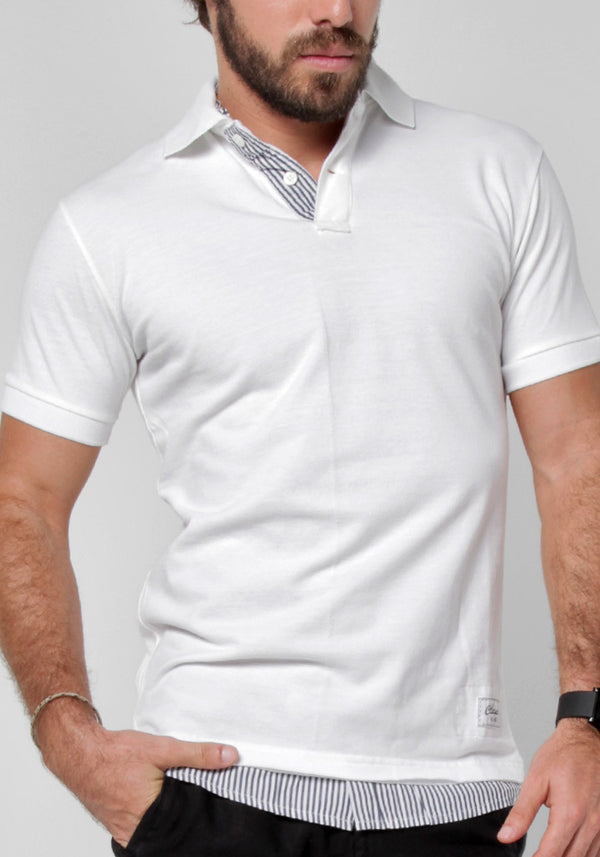 100% COTTON LAYERED POLO