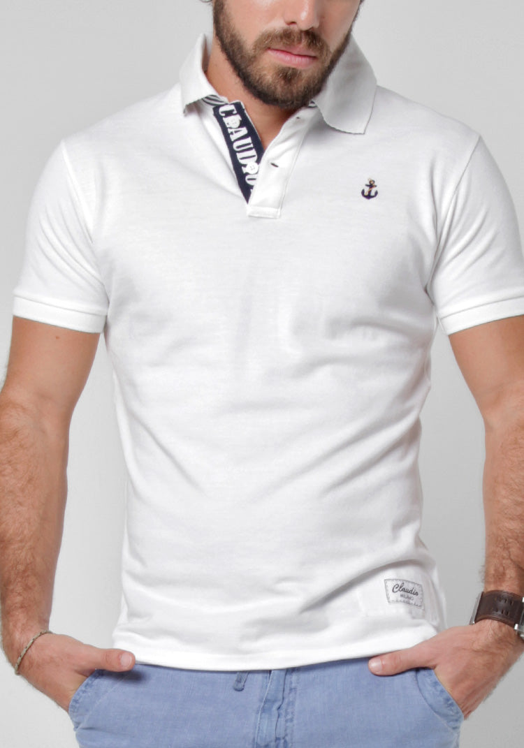 PIQUE COTTON POLO WITH PRINTED STRIPE COLLAR S to XXXL - Claudio Milano