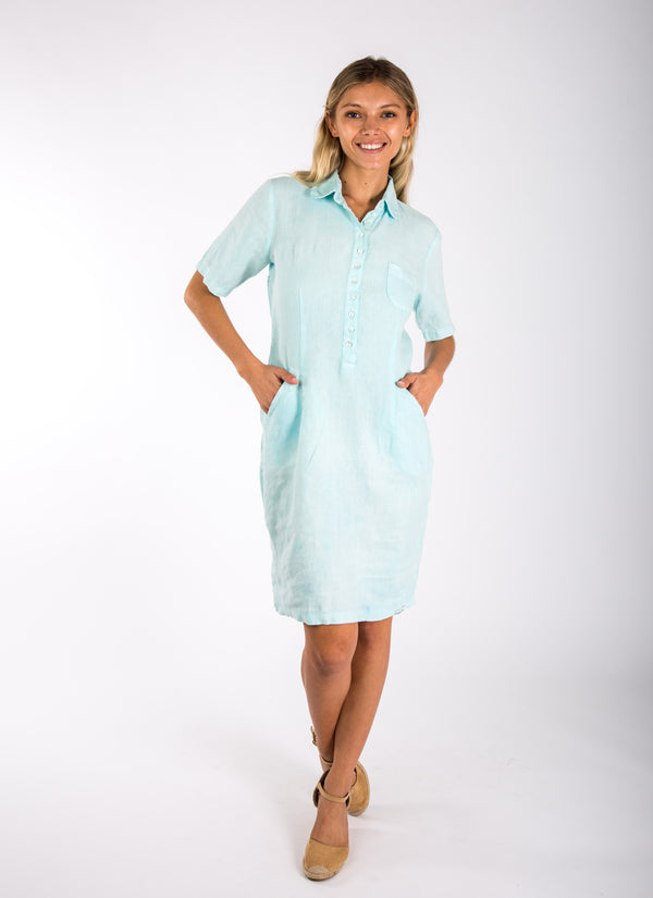 #8351 Dress Linen for Women - White, Black, Red, Aqua, Blue, Green All  100% Natural Italian Style Collared Golf Dress With Hidden Pockets