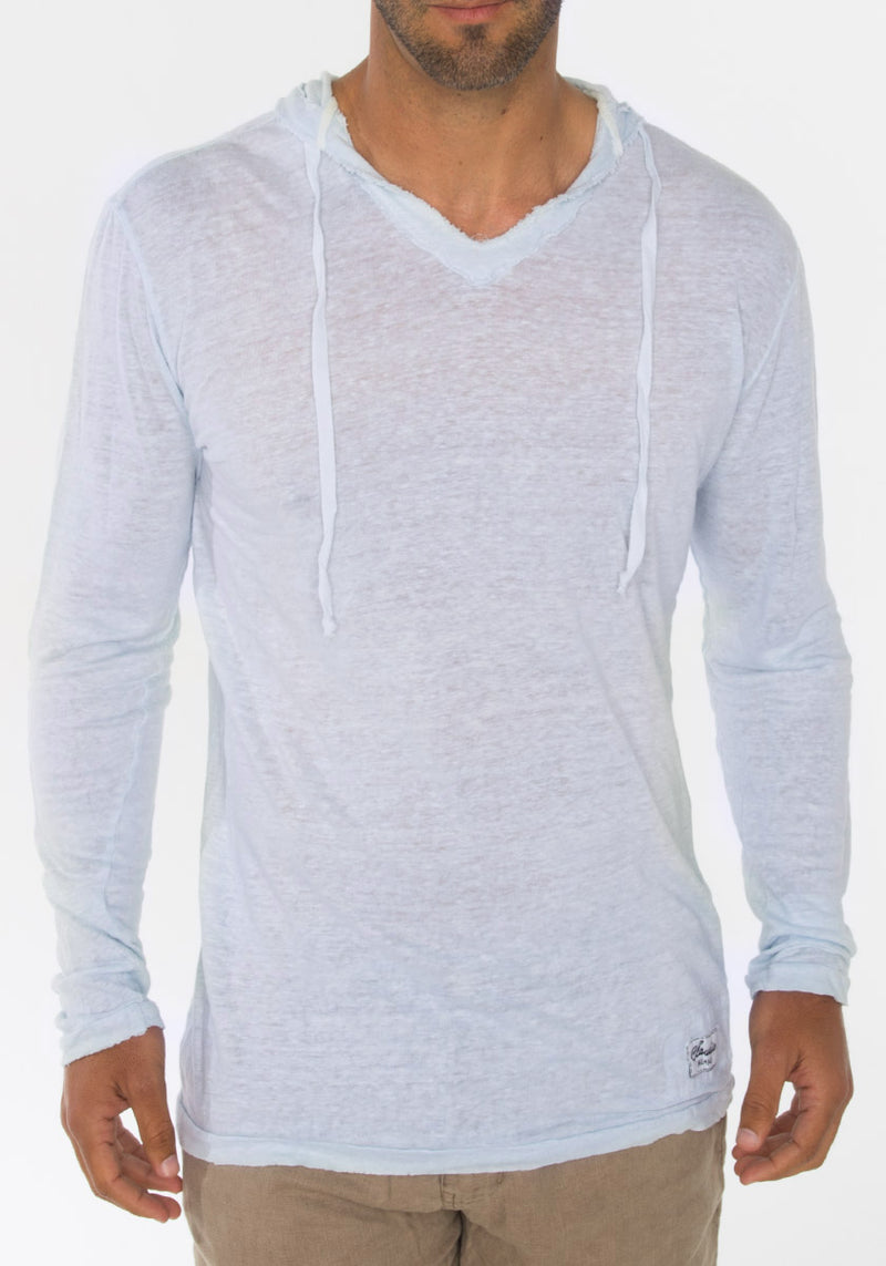 JERSEY LINEN FITTED LONG SLEEVE HOODIE T-SHIRT S to XXXL - Claudio Milano